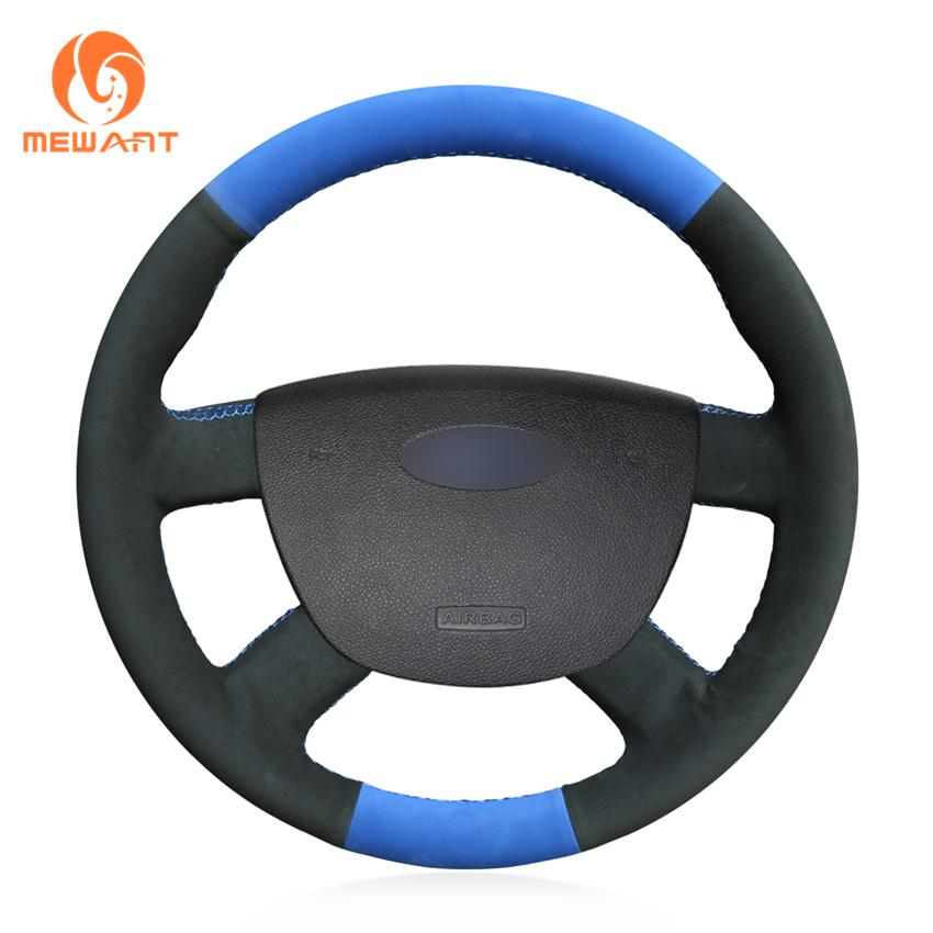 MEWANT DIY Blue with Black Suede Steering Wheel Cover Wrap for Ford Kuga 2008-2011 Focus 2 2005-2011 C-MAX 2007-2010 Transit 2010-2013
