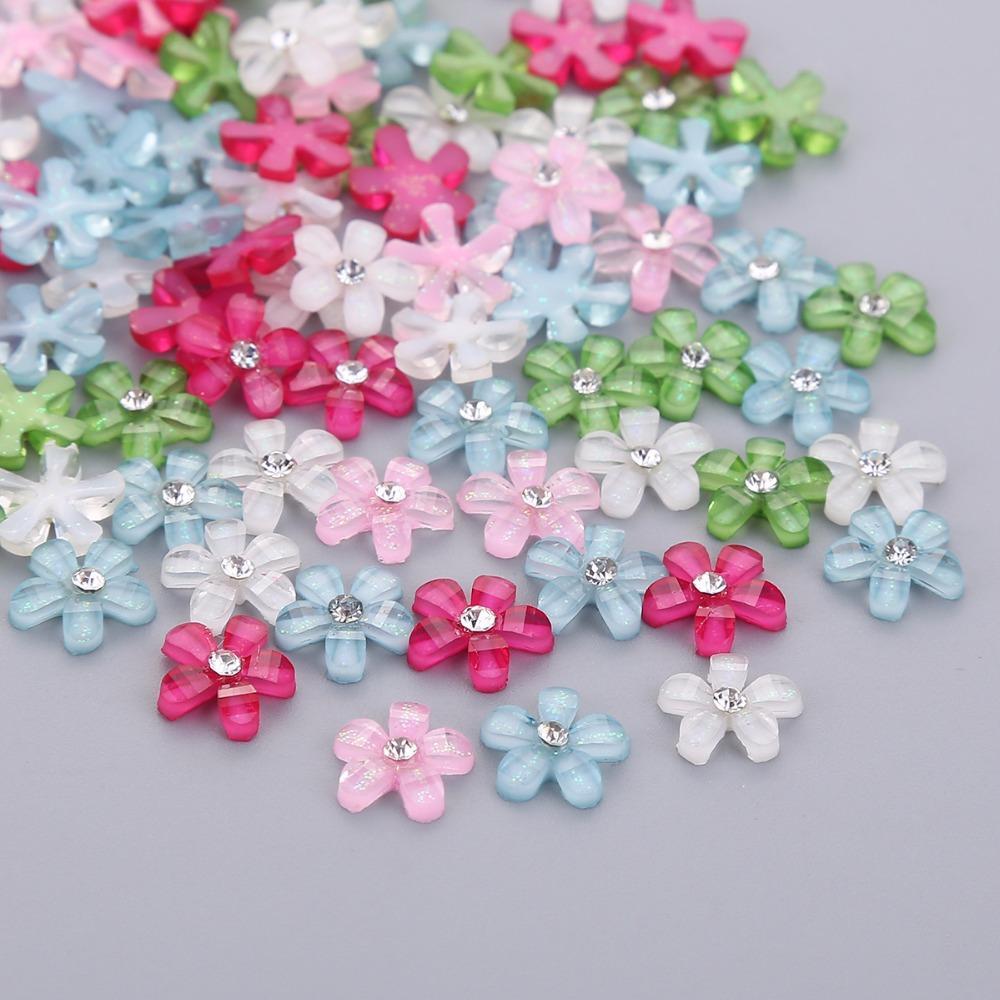 TPSMOC de 10 mm fleur mignonne résine avec strass pour les bijoux flatback cabochons bricolage, téléphone, ongles artisanat perles de artdecoration