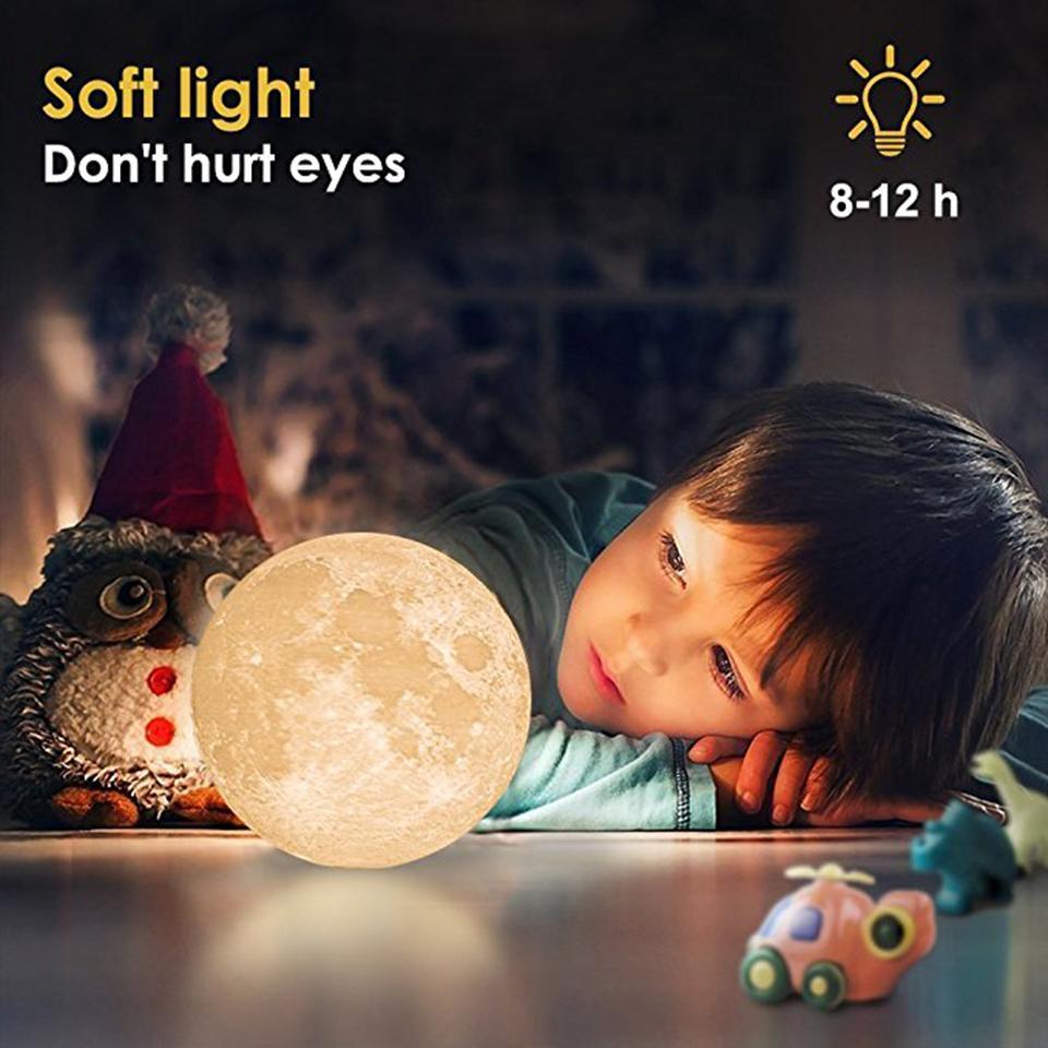 Fábrica 3D Imprimir Lâmpadas Tabela Lua lâmpada recarregável USB Night Light toque interruptor românticos criativos presentes Quarto Lig decorativa
