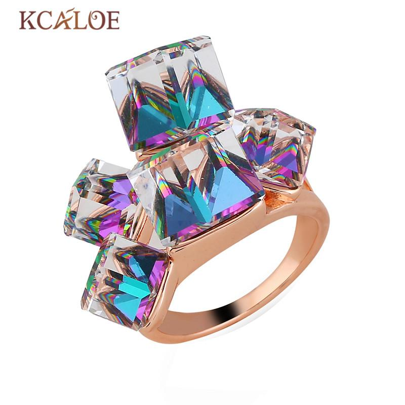 wholesale Transparent Square Crystal Engagement Ring Rose Gold Zircon Wedding Rings For Women Bohemian Jewelry Anelli Donna Anillo