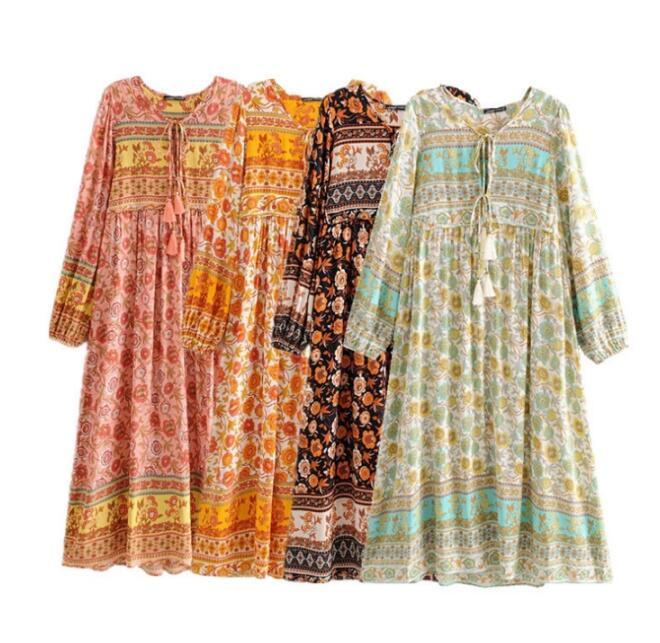 Women Beach Floral Print Maxi Dress 2020 New V Neck Sexy Long Sleeve Vintage Bohemian Vacation Dress Spring Summer Loose Casual Boho Dresses
