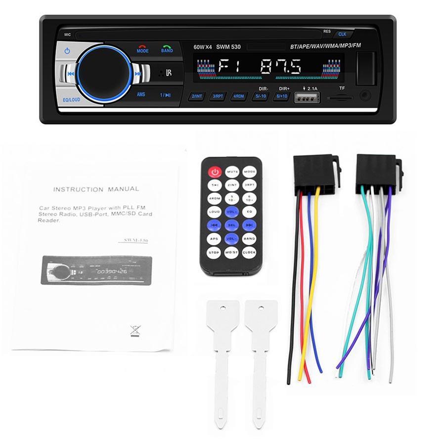 إدارة النفايات الصلبة-530 Autoradio ستيريو عالية الوضوح العالمي مزدوج DIN LCD سيارة الوسائط المتعددة بلوتوث 4.0 سيارة مشغل موسيقى MP3 FM راديو المزدوج USB AUX