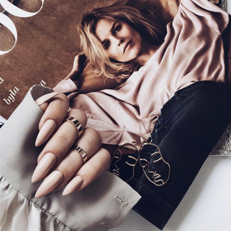 Bare rosa cuspide sposa Chiodi 24 pc simulano pezzi con colla false del chiodo punte acriliche di estensione del dito Strumenti Nail Art Manicure