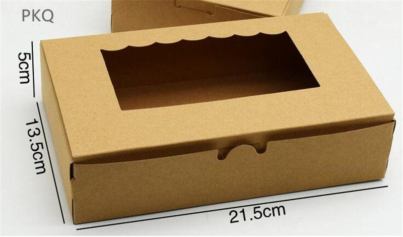 20pc scatola di carta fai da te con finestra marrone carta kraft Confezione regalo scatola torta Per la casa di nozze partito focaccina titolare imballaggi cup cake