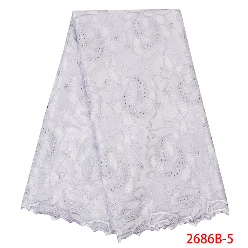 African Lace Fabric 2020 High Quality Swiss Voile Laces Cotton Embroidered Nigerian Lace Fabric for Women White KS2686B-5
