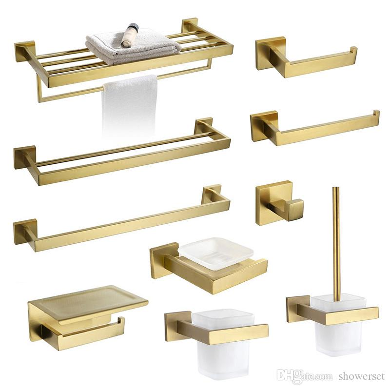Brushed Gold Towel Bar Rail Toilet Paper Holder Towel Rack Hook Soap Dish Toilet Brush Bathroom Accessories Hardware Set