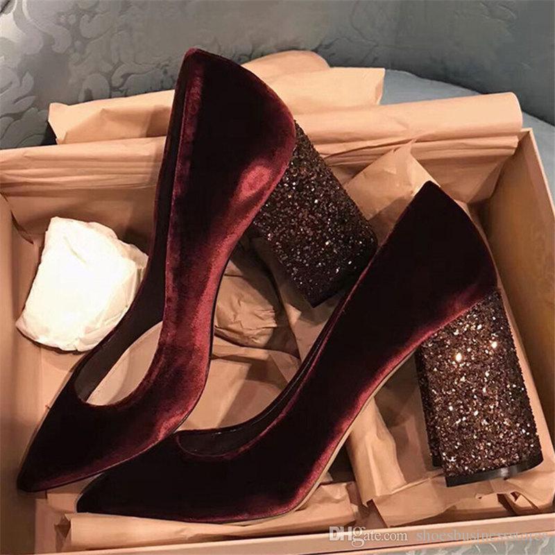 Блестки коренастый на высоком каблуке туфли на высоком каблуке для женщин 2019 Новая весна шику на высоком каблуке из бархата на свадебной обуви Женские туфли с острым носом