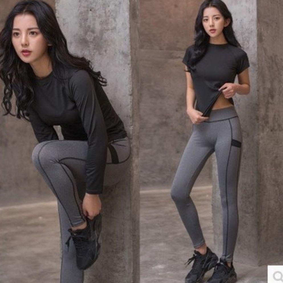 Kadınlar 2 Parça Yoga Set Spor Giyim Spor Takım Elbise Uzun Kollu Spor Seti Spor Giyim Dikişsiz Egzersiz Koşu Eşofman # 604207