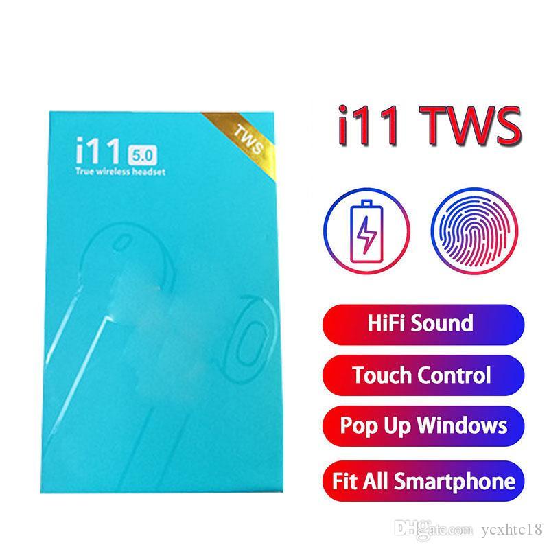 i11 TWS táctil de control del auricular de Bluetooth 5.0 auricular del auricular del deporte doble de auriculares Mini Wireless Auriculares con ventana pop-up i11tws auriculares