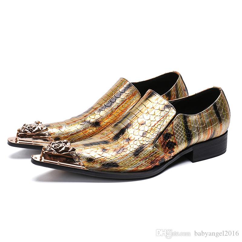 Italienische Designer Spitz Mann Formelle Kleidung Punk Loafers Echtes Leder Metal Trim Herren Hochzeit Rocker Schuhe