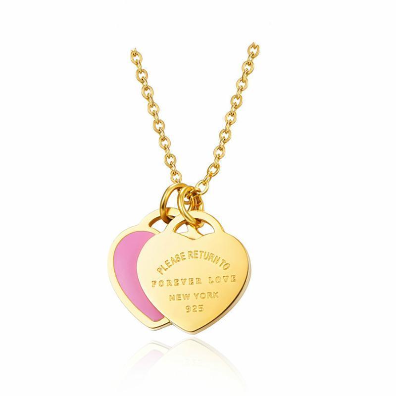 2020 Jingyang 316L acero inoxidable de acero inoxidable color rosa verde doble corazón colgante collar collar de cadena joyería de moda para mujeres p2