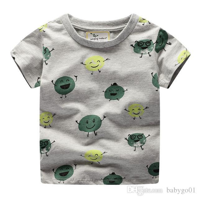 الأطفال القمصان بنين تيز بلايز أطفال تي شيرت أزياء الصيف الكرتون القطن بنين T أحرف قميص الملابس طفل