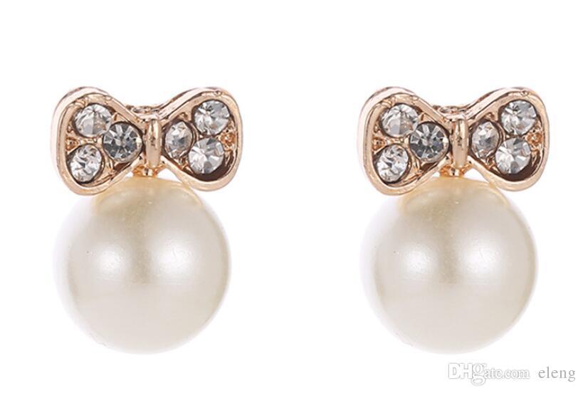 2019 neue Ankunft Bogen Diamant-verzierte Perlenohrringohrringe Schmucksachen für Frauen-Partei-Geschenk freies Verschiffen 453