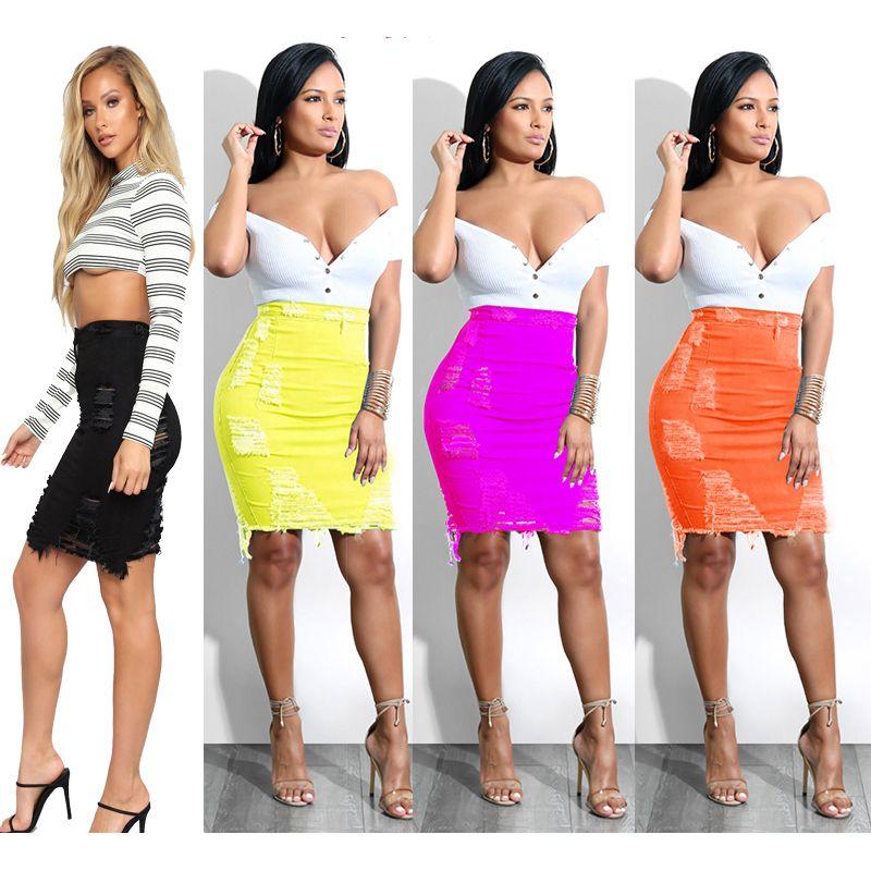 Kadın Şeker Renk Sıkı Wrap Hip Etekler Yüksek Bel Butt-Kaldırma BODYCON Kot Kalem Etek Elbise Günlük Yaz Ripped