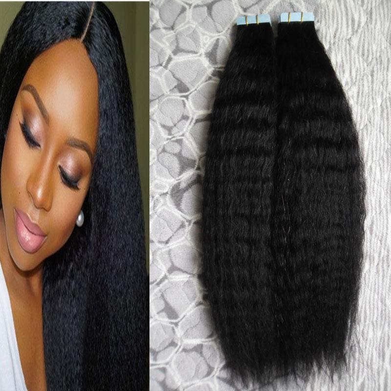 인간의 머리카락 연장에있는 변태 똑 바른 테이프 40의 pcs yaki 인간적인 머리 연장 굵은 yaki 테이프 접착제 머리 연장에 피부 위사 PU 테이프