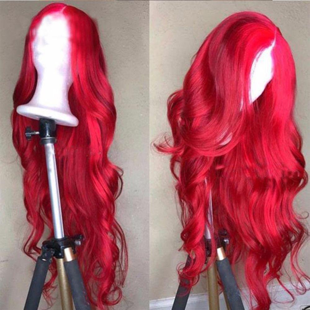 13x4 кружева перед парики человеческих волос с волосами младенца предварительно сорвал бразильский реми длинный парик объемная волна ярко-красный цвет для женщин