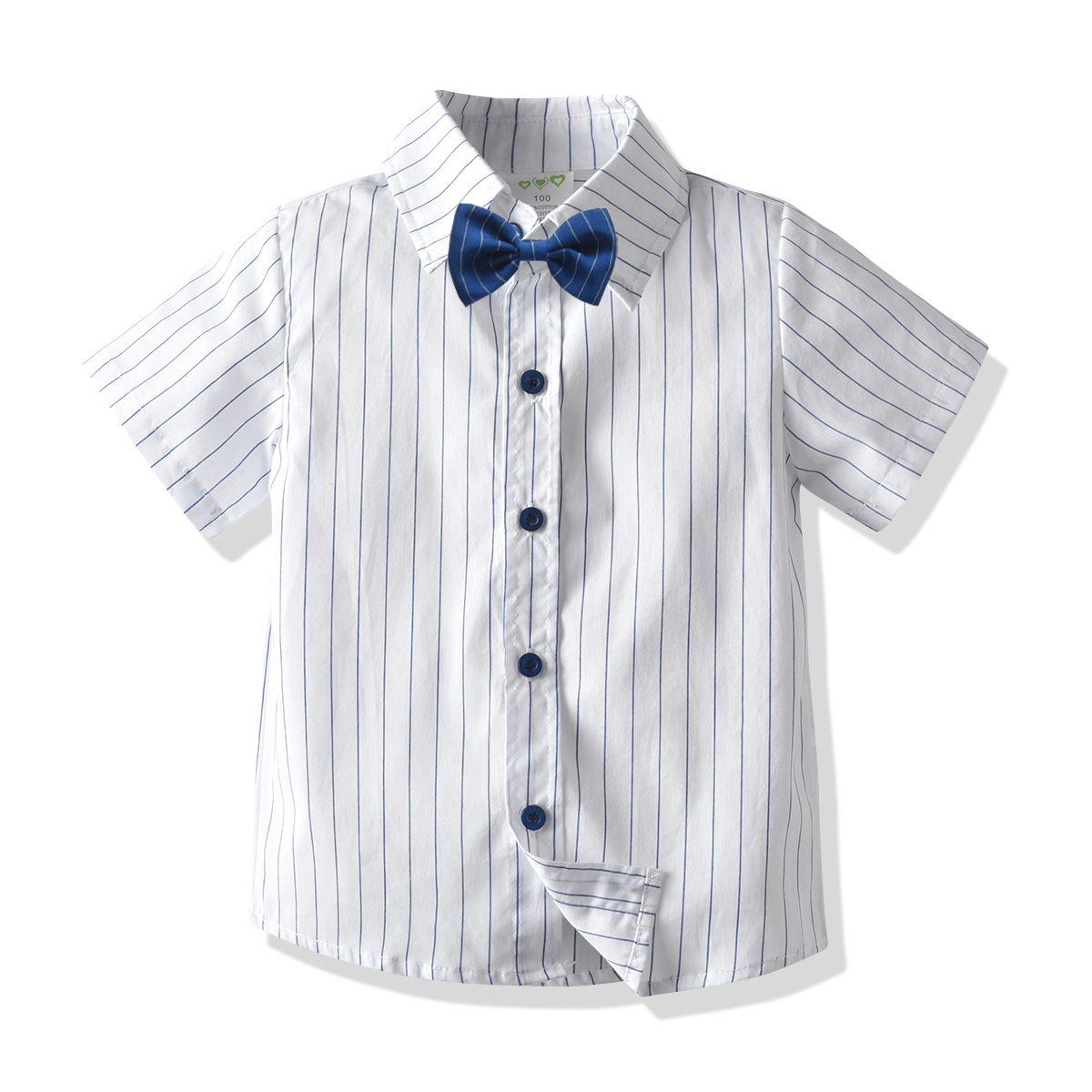 Детская полосатая рубашка хлопок 1-7 лет мальчики рубашка с короткими рукавами кардиган лето новая европейская мода детская рубашка M200417