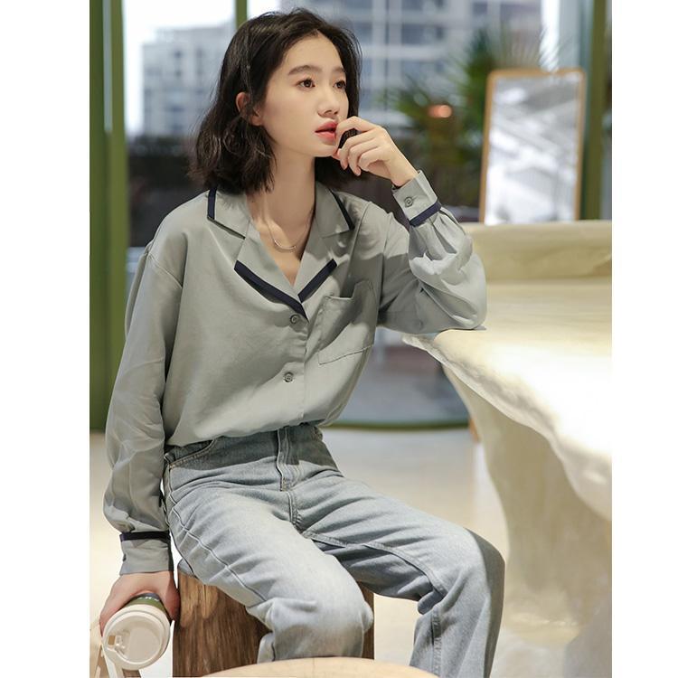 High Quality Serie Solide Hemd 2020 neue heißen In Einfachen Design Patchwork-lange Hülse Loose Women's Fashion Unique Shirts Feegirl 2085