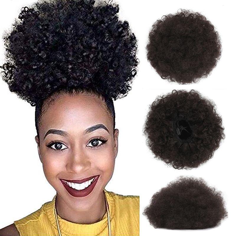 아프리카 머리 머리를 묶은 아프리카계 미국인은 짧은 아프리카 곱슬 랩 합성 졸라매는 끈 묶은 퍼프