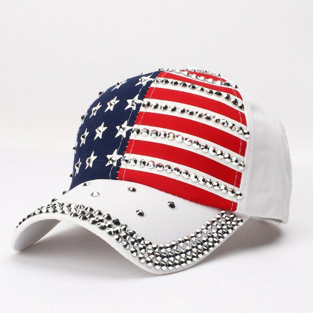 2019 Männer Frauen Hut-Baseballmütze USA-Flaggen-Caps Diamant Rivet Donald Trump Hut Großhandel qjIqt