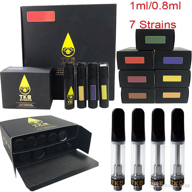 Sauce Carts TKO Extrakte leeren Vape Pen-Patronen 0,8 ml 1,0 ml Glas Thick-Öl-Wachs Vaporizer Verpackung 510 Ceramic Black Tip Atomizers