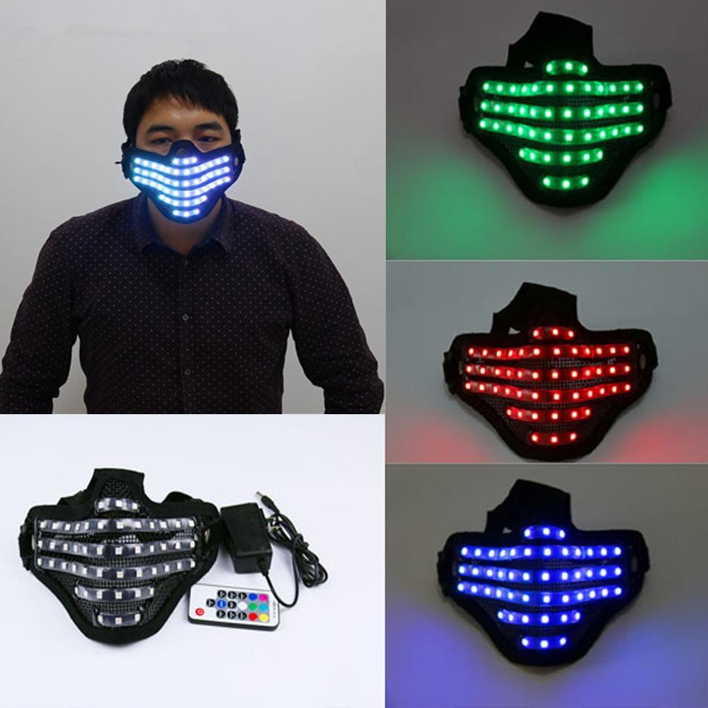 무료 배송 LED RGB Mutilcolor 빛 마스크 영웅 얼굴 가드 DJ 마스크 파티 할로윈 생일 Led 다채로운 마스크 쇼