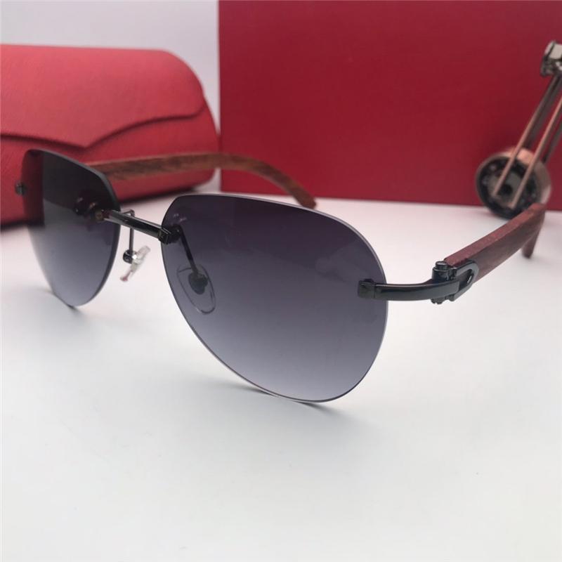 Klassisch Freizeit Marke Berühmt Frauen Luxus-Designer-Sonnenbrille Retro Metall Holz Top-Qualität Pilot Herren Damen Sonnenbrillen
