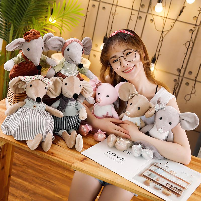 1pc 42cm Cute Stuffed Ballet Mouse Plush Toys Lovely Dressing Cloth Animal Mouse Dolls Soft Baby Finger Toys Birthday Gifts