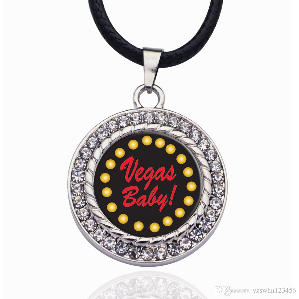 Vegas Baby Circle Charm Collar Estrellas Bola Colgante Cristal Collares Collar de cadena Para unisex