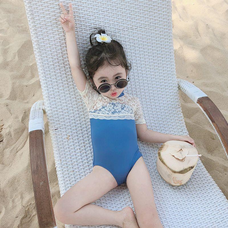 Sevimli Kızlar Prenses Mayo Dantel Ekleme Kısa Kollu Çocuklar Tek Parça Mayo Moda Çocuk Plaj Mayo C6292