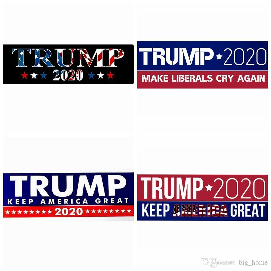 Trump 2020 Publicidad Etiqueta engomada del coche Moda Presidente de los EE. UU. Donald Cartel Exquisitas pegatinas Hogar Jardín Pegatinas Decoración de la pared LJJ_TA1263