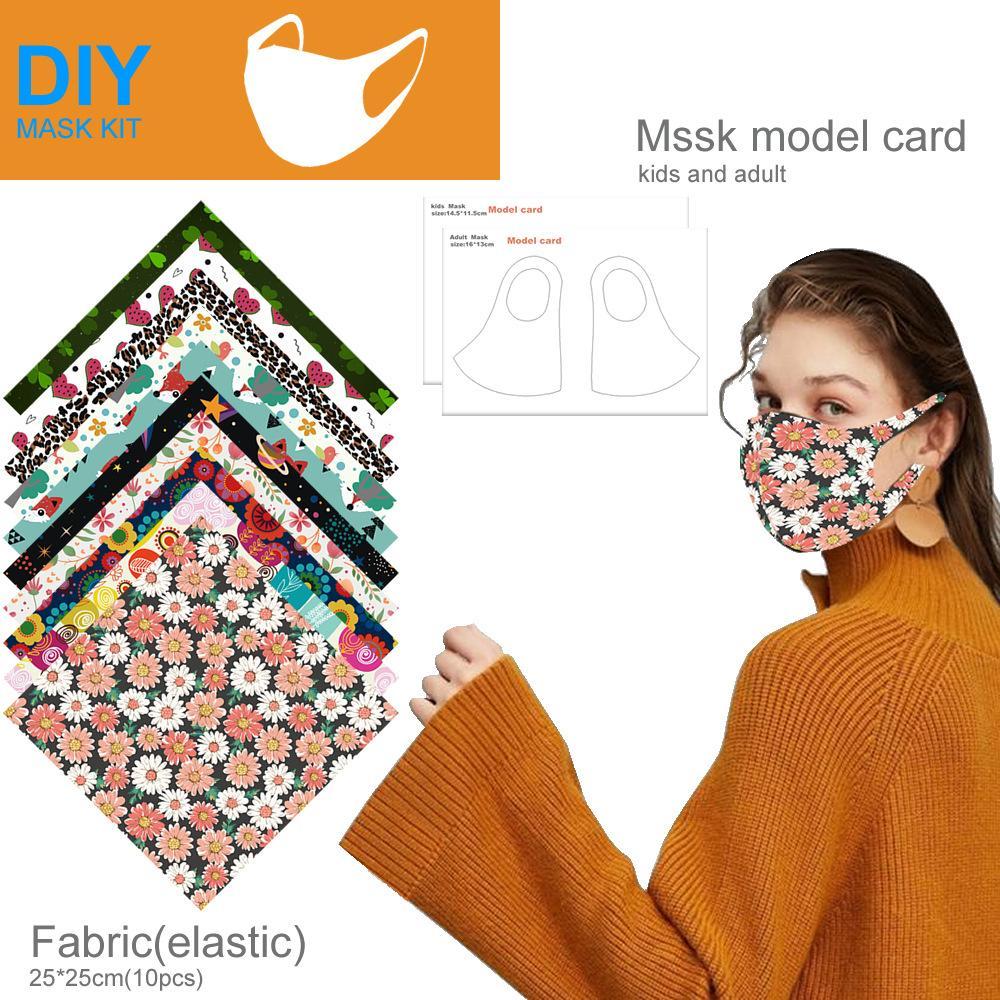 freies Verschiffen DIY Masken staubdichte hausgemachter Maske Material Paket Set Druckmaske elastischen Tuch Maske erwachsene Kinder universal