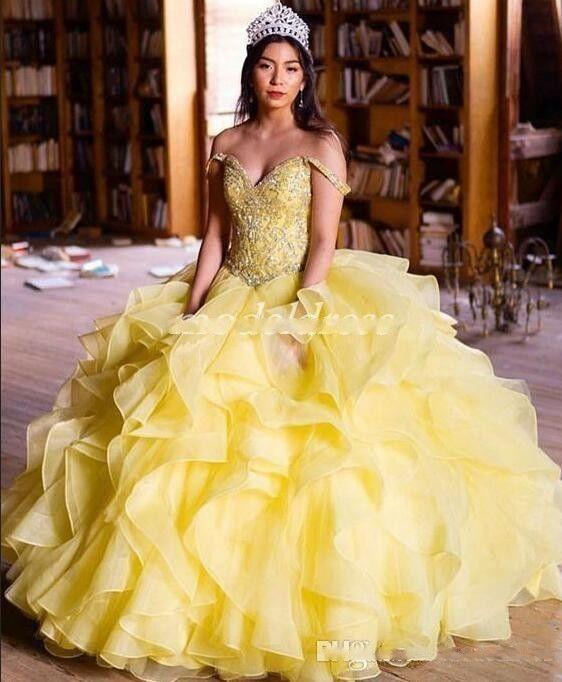 Новый сладкий 16 желтый принцесса Quinceanera платья бальное платье с плеча каскадные оборками хрустальные бусы выпускного вечера платья для сладкого 15 платье