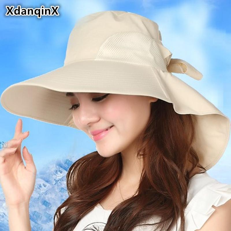 Toptan kadın Şapka Yaz Büyük Ağız Şapka Katlanabilir Örgü Nefes Güneş Şapka Moda UV Geçirmez Plaj Şapka Çabuk kesilmiş Kadın Kapaklar