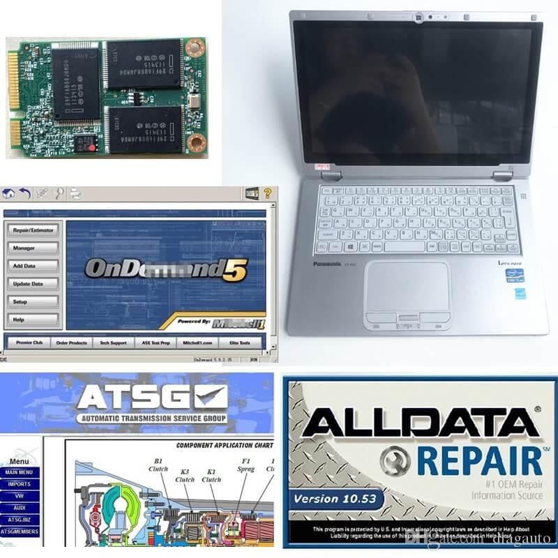 All Data Install touchscreen used Laptop CF-AX2 Car auto Repair Alldata V10.53 + Mitch*ll 5 + ATSG 2012 full set ready to use