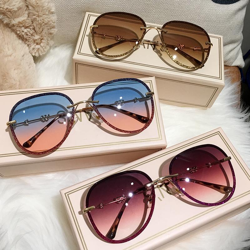 MS 2019 nuevas gafas de sol de diamantes mujer imitación diamantes de imitación del color del gradiente Uv400 las gafas de ms 2019 AHOfG