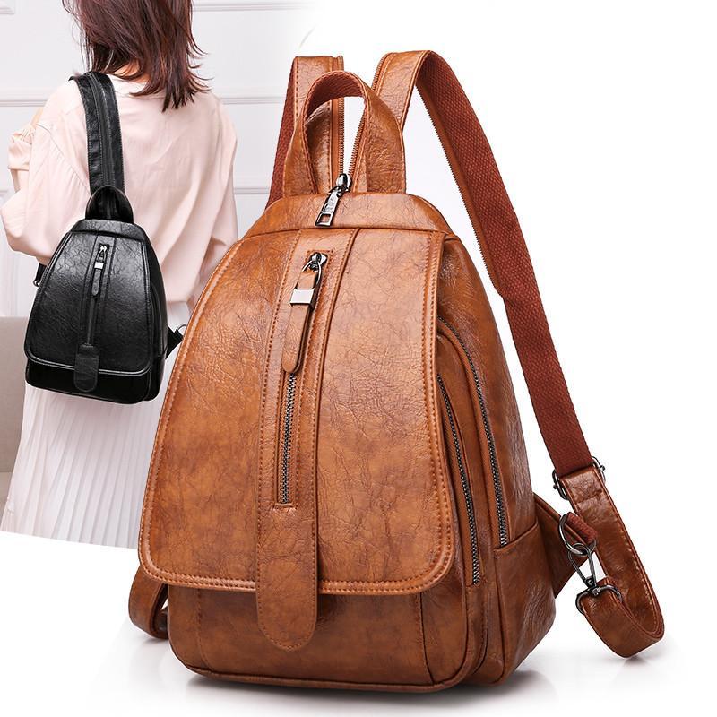 ACELURE Vintage Mulheres mochila de viagem Voltar Saco Peito Bag cor sólida de alta qualidade Oil Wax PU Feminino Backbag Mochila