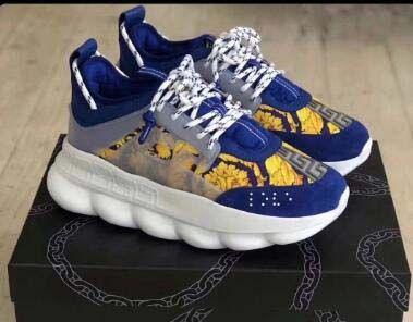 Dernières hommes chaîne Sneakes de luxe de Chaussures Hommes Femmes chaussures de sport en cuir Chaussures Casual Formateurs légère semelle 10 Chaussures