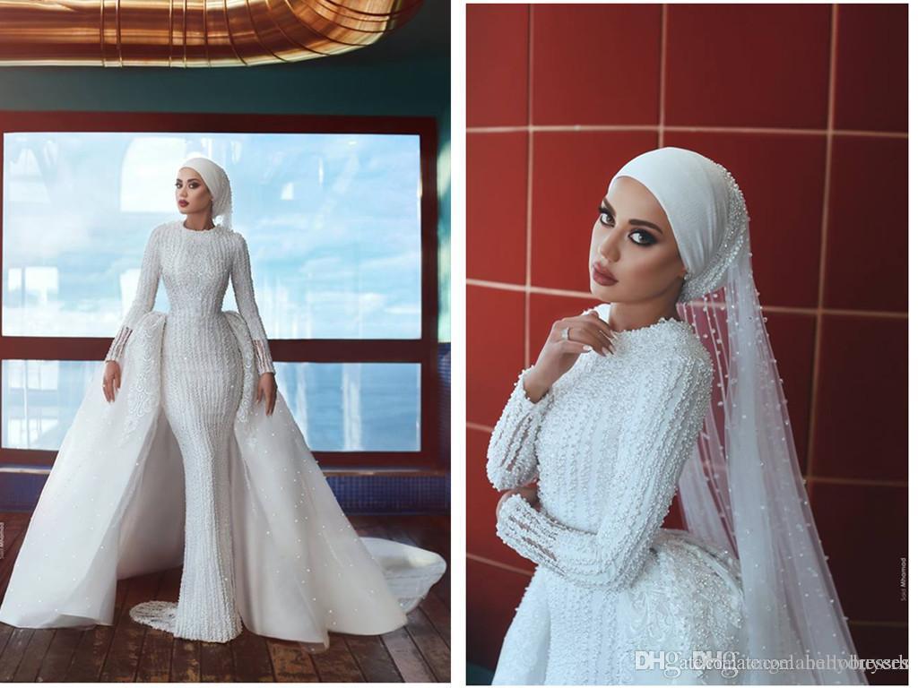 2019 zuhair murad meerjungfrau muslim langarm vintage luxus hochzeitskleid voller perlen vestido de novia benutzerdefinierte hochzeitsgast kleid brautkleid