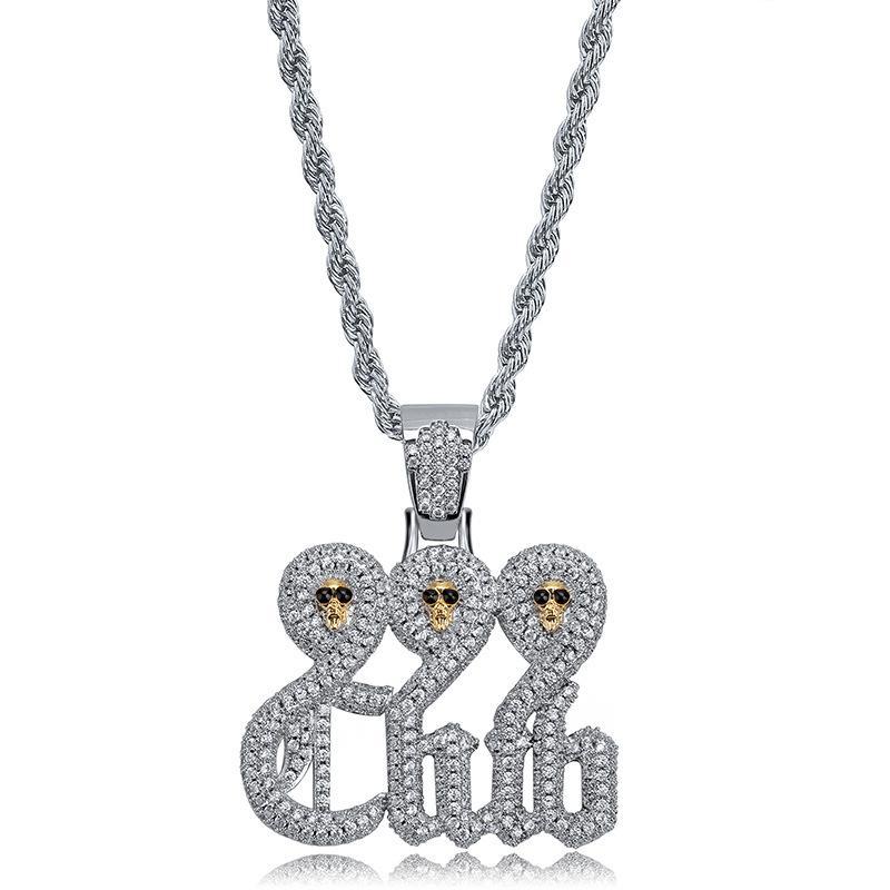 999 Clube Crânio Pingente de Colar Para Homens 2019 Nova Moda Hip Hop Jóias Ice Out 14 K Colar de Ouro Bling Cubic Zirconia Jewellry