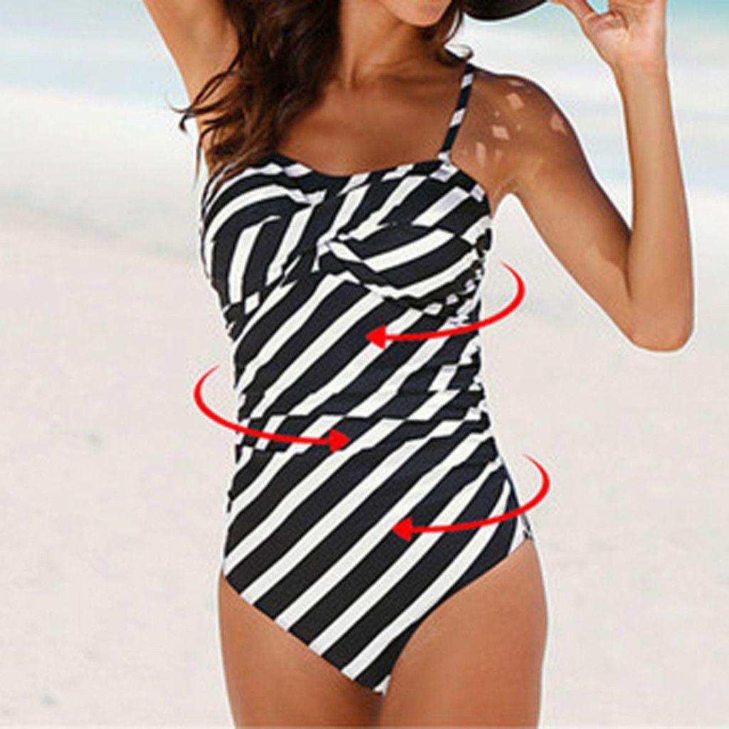 Women Summer  Swim Suit Biquini Stripe Plus Size Padded Halter Skirt One Piece