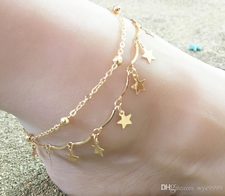 Nuovo nappe catene signore calde spiaggia d'estate calzature stelle