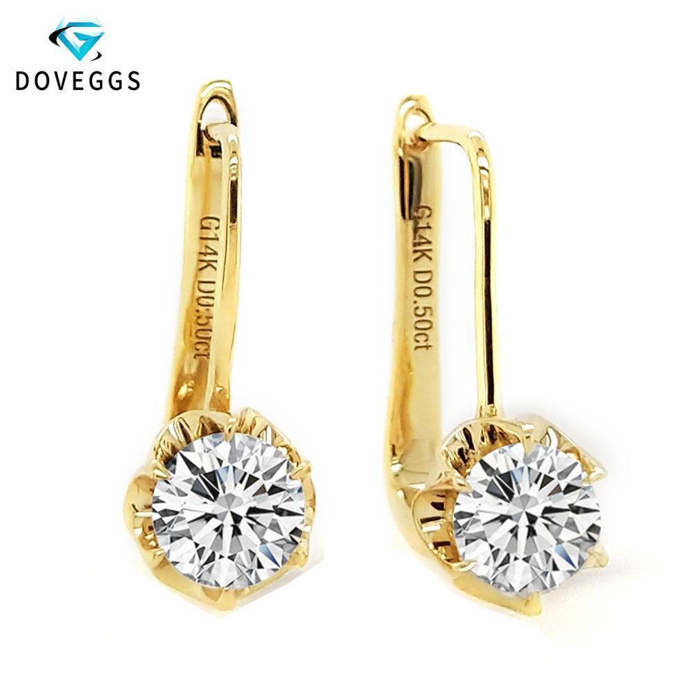 DovEggs 1ctw 5 mm F G color Lab Grown CJ191203 joyería de Moissanite del aro del diamante pendientes para las mujeres 14K 585 Amarillo Oro Pendiente Flor fina