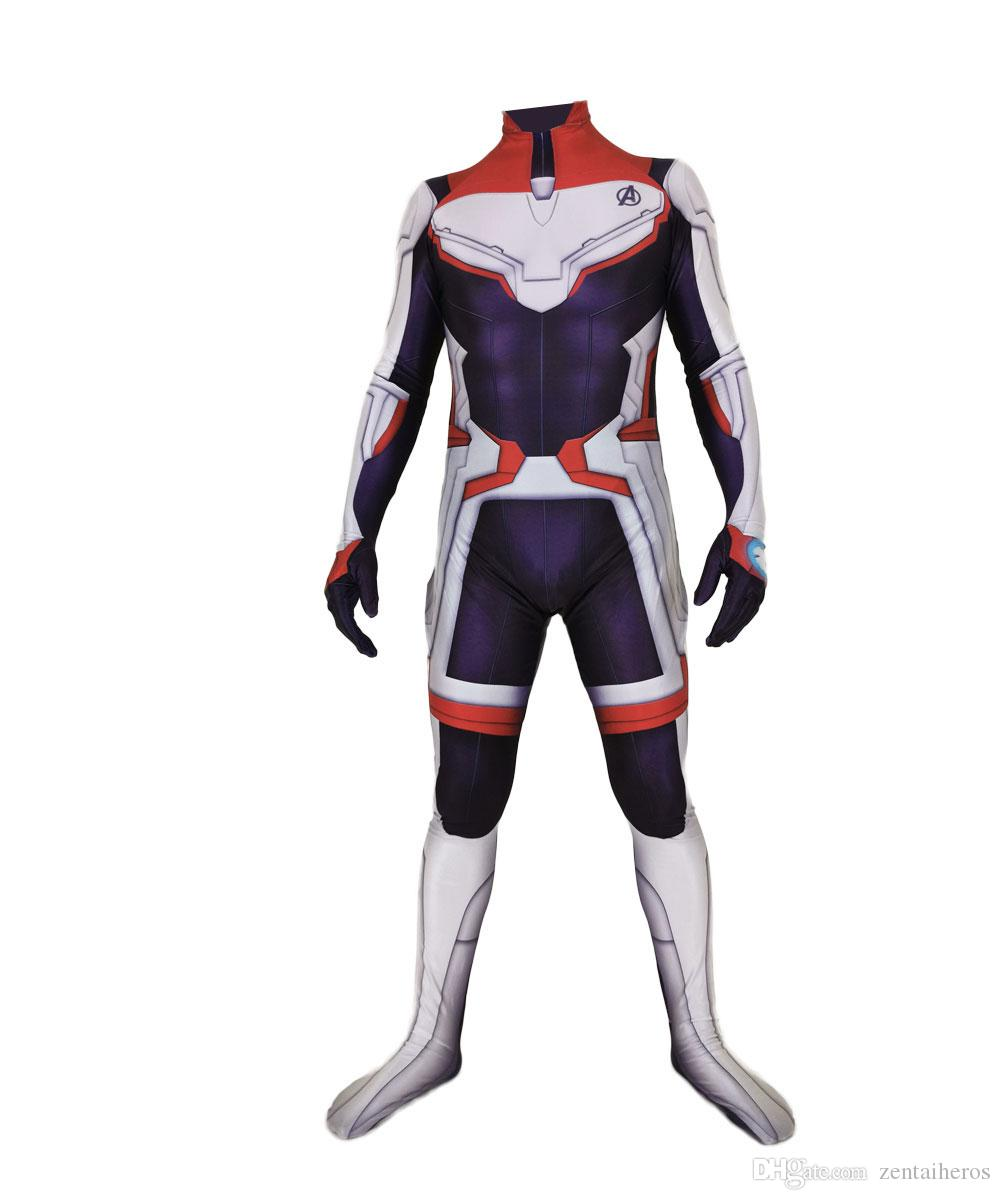 US SHIP Avengers Endgame Quantum Realm Cosplay Zentai Costume Bodysuit Tights