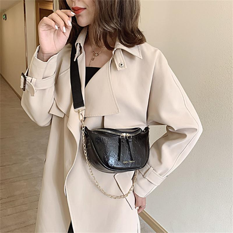 Women Shoulder Bag Wide Band Crossbody Bags For Women 2020 Female Pu Leather Zipper Messenger Bag Chain Handbag Bolsa Feminina