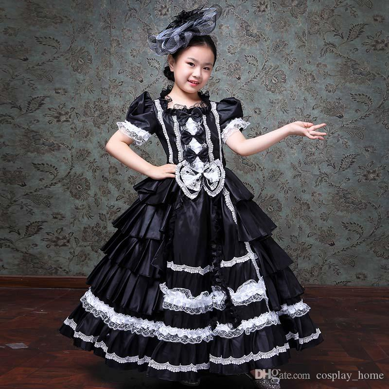 Customized 2019 Black Children Birthday Party Princess Dress Medieval Royal Lace Rococo Baroque Gowns Costumes