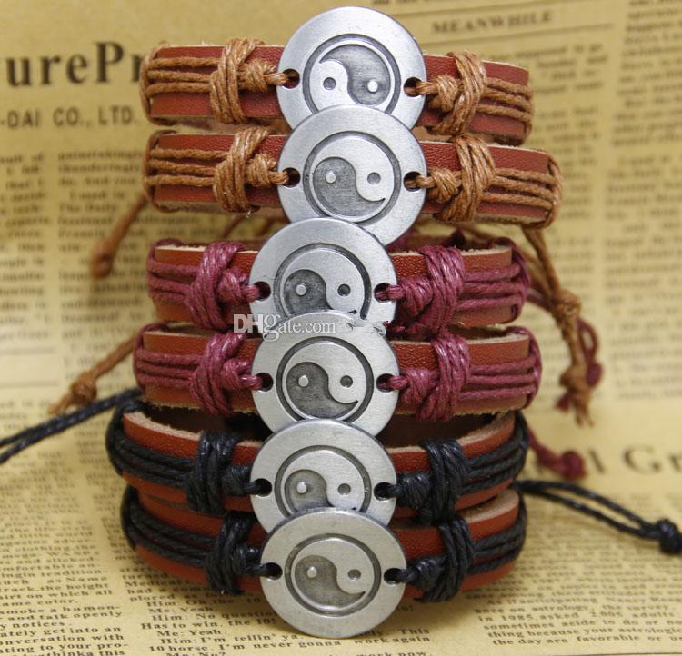 Мода Инь Ян Тай Чи Ручной Работы Дешевой Цене Оптовая Кожаные Плетеные Браслеты и Браслеты мужские браслеты женские украшения K2575