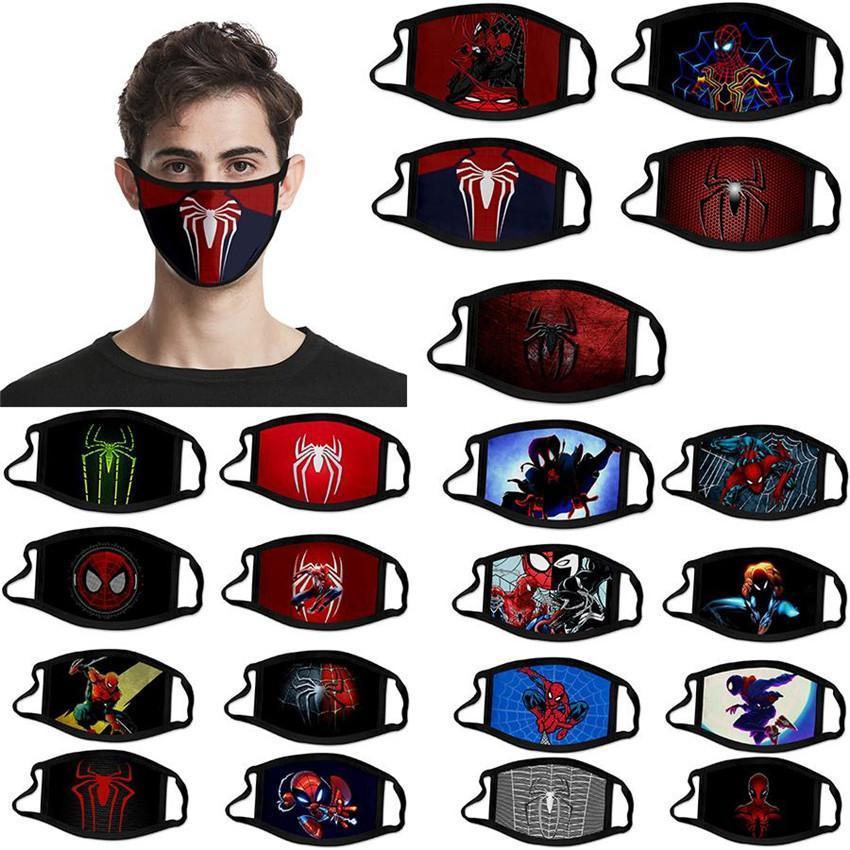 DHL Kargo Karikatür Örümcek Adam Parti American Hero Kid Maskesi Yetişkin Çocuk Pamuk Maske materyali olarak yeniden Yıkanabilir Tasarımcı Yüz Maskesi FY9164 Maske