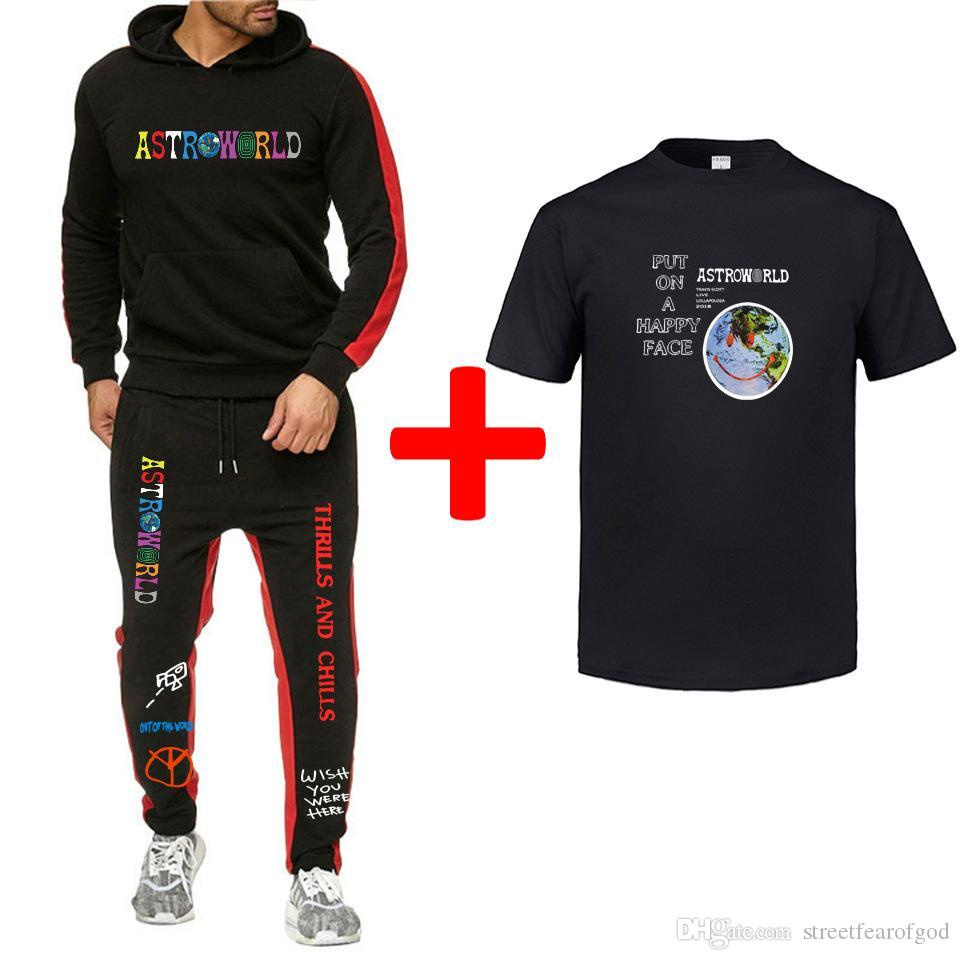 Pantalon Travis Scott Astroworld Survêtements Hommes Pulls Costumes 3pcs T-shirts Pantalons Suits Printemps Eté