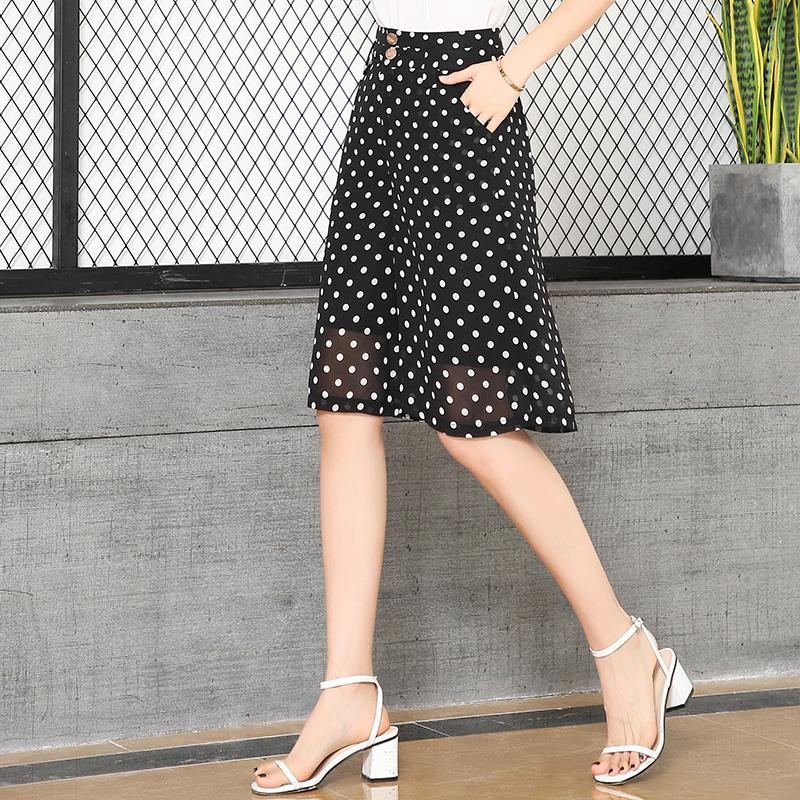 Mezza lunghezza estate Donne Shorts a vita alta allentato chiffon Shorts Plus Size 5XL Femminile Elegant Lady Ufficio Dots Gonne